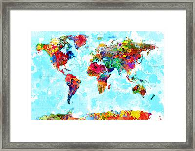 World Map Spattered Paint Framed Print by Gary Grayson