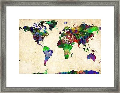 World Map Watercolor Framed Print by Gary Grayson