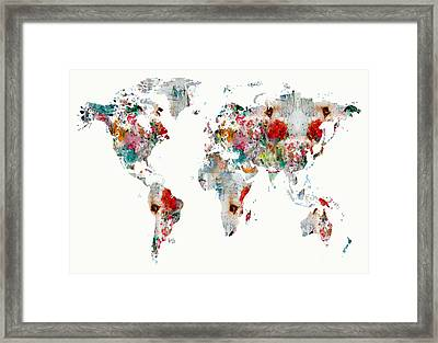 World Map Watercolour Framed Print by Bri B