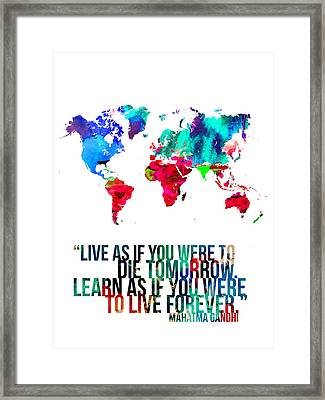 World Map With A Quote Framed Print by Naxart Studio
