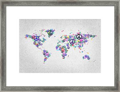 World Peace Map Framed Print by Aged Pixel