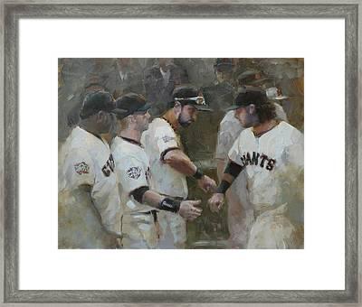 World Series Fist Bump Framed Print by Darren Kerr