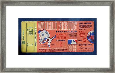 World Series Ticket Shea Stadium 1969 Framed Print by Melinda Saminski