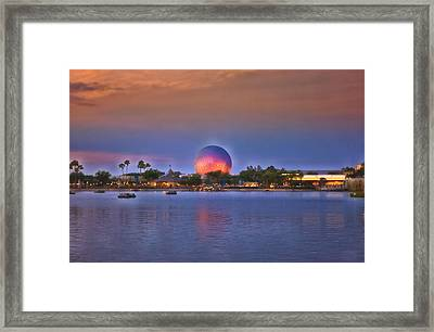 World Showcase Lagoon Sunset Framed Print by Thomas Woolworth