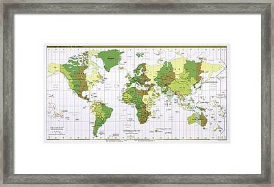World Time Zones Framed Print by Library Of Congress, Geography And Map Division
