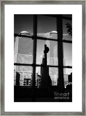 World Trade Center Memorial Cross With World Financial Centre Buildings Behind Ground Zero Framed Print by Joe Fox