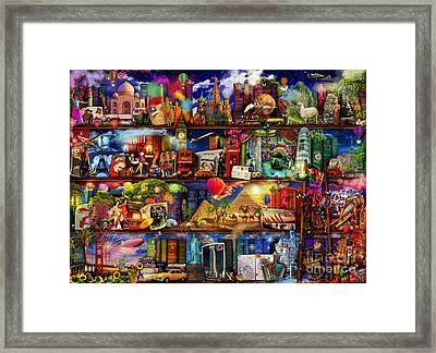 World Travel Book Shelf Framed Print by Aimee Stewart