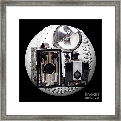 World Travelers Baseball Square Framed Print by Andee Design