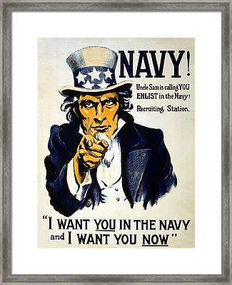 World War I 1914 1918 American Recruitment Poster 1917 Navy Uncle Sam Is Calling You  Framed Print by Anonymous