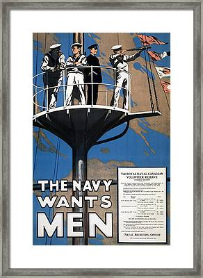 World War I 1914 1918 Canadian Recruitment Poster For The Royal Canadian Navy  Framed Print by Anonymous