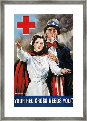 World War II: Red Cross Framed Print by Granger