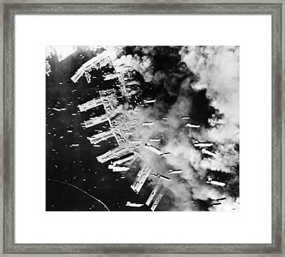 World War II: U.s. Air Raid Framed Print by Granger