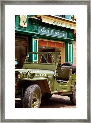 World War II Us Army Jeep Parked Framed Print by Brian Jannsen