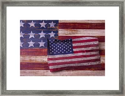 Worn American Flag Framed Print by Garry Gay
