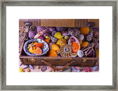 Worn Suitcase Full Of Sea Shells Framed Print by Garry Gay