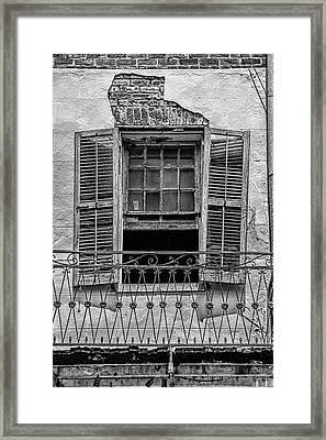 Worn Window - Bw Framed Print by Christopher Holmes