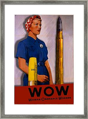 Wow Woman Vintage Poster Framed Print by Tony Rubino
