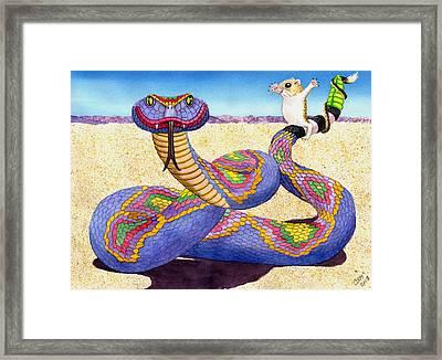 Wrangled Razzle Dazzle Rainbow Rattler Framed Print by Catherine G McElroy