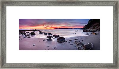 Wreck Beach Panorama Framed Print by Alexis Birkill