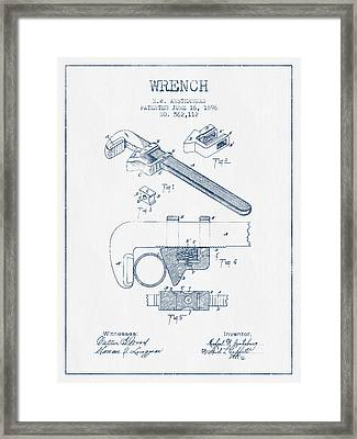 Wrench Patent Drawing From 1896- Blue Ink Framed Print by Aged Pixel