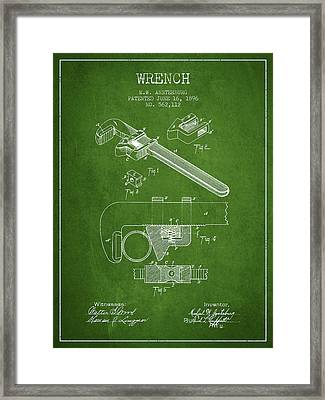 Wrench Patent Drawing From 1896 - Green Framed Print by Aged Pixel