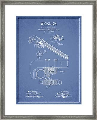 Wrench Patent Drawing From 1896 - Light Blue Framed Print by Aged Pixel