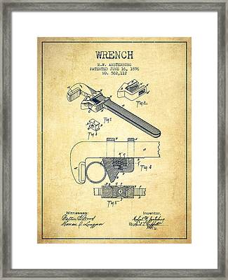 Wrench Patent Drawing From 1896 - Vintage Framed Print by Aged Pixel