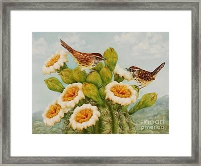 Wrens On Top Of Tucson Framed Print by Summer Celeste