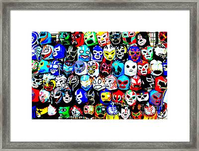 Wrestling Masks Of Lucha Libre Altered Framed Print by Jim Fitzpatrick