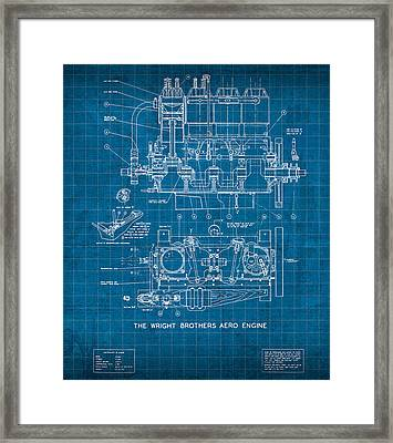 Wright Brothers Aero Engine Vintage Patent Blueprint Framed Print by Design Turnpike