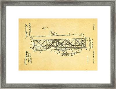 Wright Brothers Flying Machine Patent Art 1906 Framed Print by Ian Monk