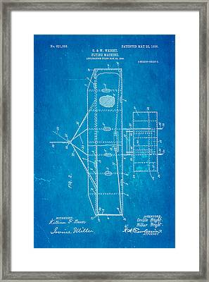 Wright Brothers Flying Machine Patent Art 2 1906 Blueprint Framed Print by Ian Monk