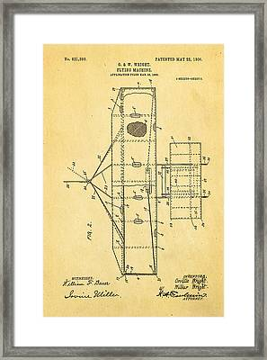 Wright Brothers Flying Machine Patent Art 2 1906 Framed Print by Ian Monk