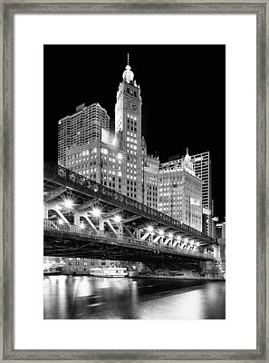 Wrigley Building At Night In Black And White Framed Print by Sebastian Musial