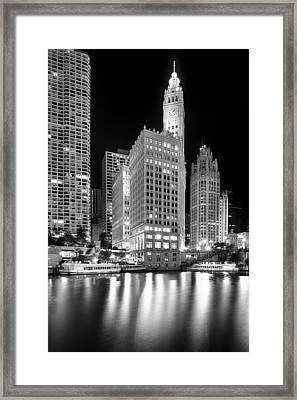 Wrigley Building Reflection In Black And White Framed Print by Sebastian Musial