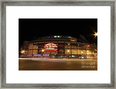 Wrigley Field At Night Framed Print by Michael Paskvan