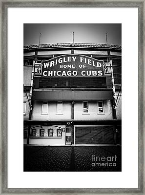 Wrigley Field Chicago Cubs Sign In Black And White Framed Print by Paul Velgos