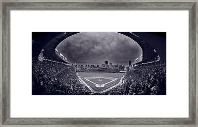 Wrigley Field Night Game Chicago Bw Framed Print by Steve Gadomski