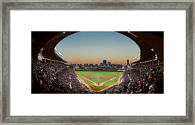 Wrigley Field Night Game Chicago Framed Print by Steve Gadomski