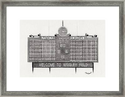 Wrigley Field Scoreboard Framed Print by Tim Trojan