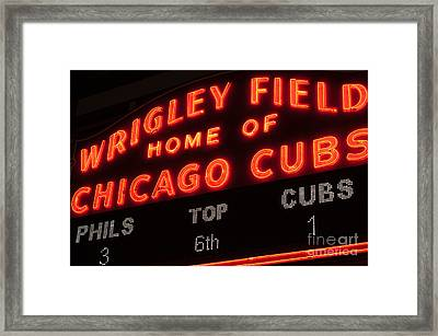 Wrigley Field Sign At Night Framed Print by Paul Velgos