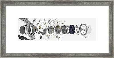 Wristwatch, Exploded-view Diagram Framed Print by Nikid Design Ltd / Dorling Kindersley