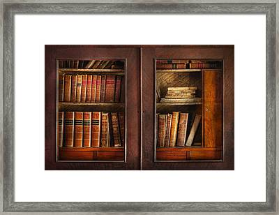 Writer - Books - The Book Cabinet  Framed Print by Mike Savad