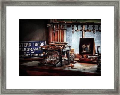 Writer - Typewriter - The Aspiring Writer Framed Print by Mike Savad