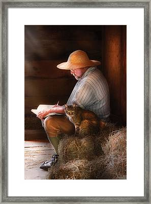 Writer - Writing In My Journal Framed Print by Mike Savad