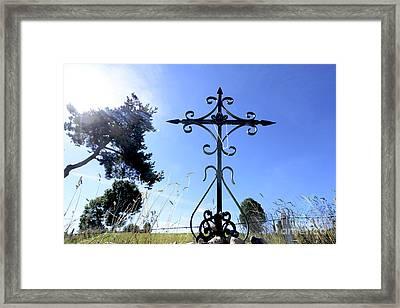 Wrought Iron Cross In Margeride. Haute Loire Framed Print by Bernard Jaubert