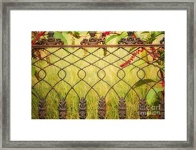 Wrought Iron With Red And Green Framed Print by Kathleen K Parker