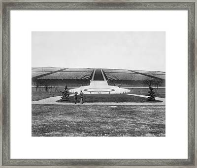 Wwi Cemetery In France Framed Print by Underwood Archives