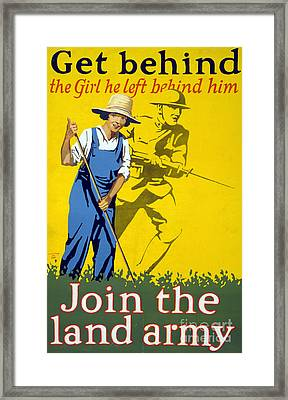 Wwi Join The Land Army 1918 Framed Print by Photo Researchers