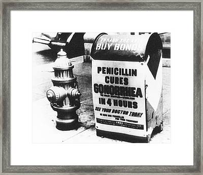 Wwii Penicillin Advert Framed Print by National Library Of Medicine